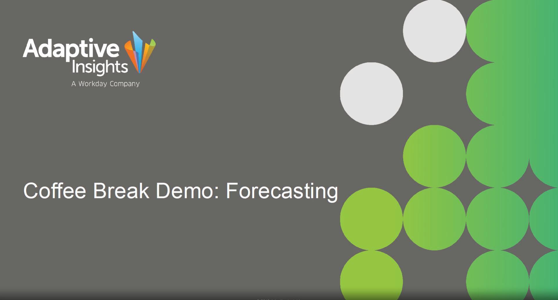 Coffee Break Demo - Forecasting